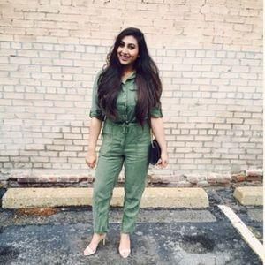 Top shop green utility jumpsuit